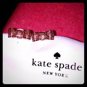 Kate Spade *Take A Bow* Rose Gold Glitter Earrings